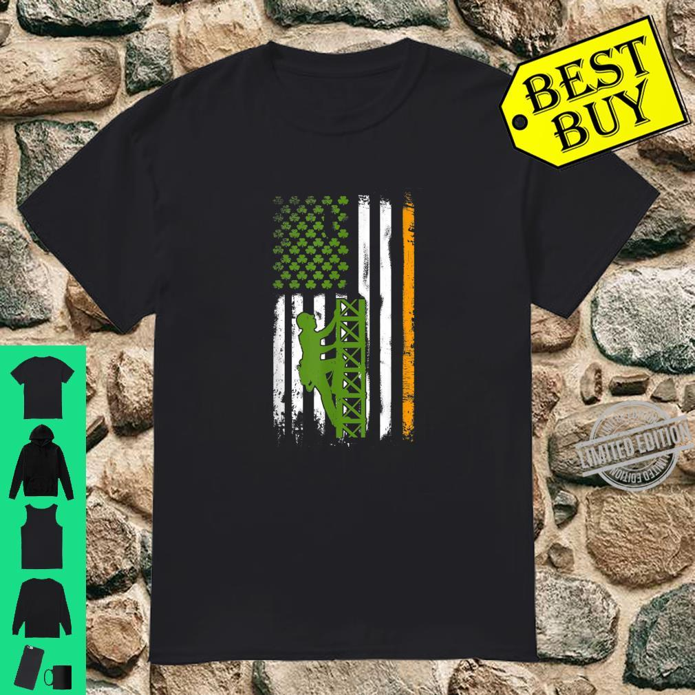 Irish American Tower Climber Flag Cell Tower St Patricks Day Shirt